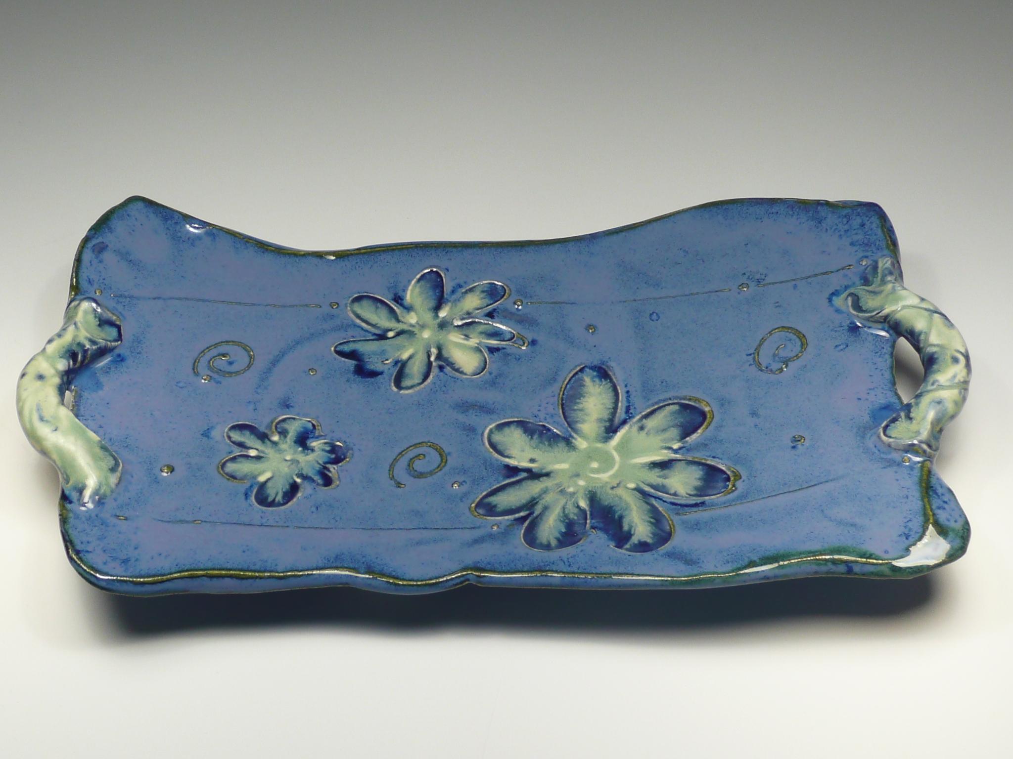 Blue Flower Tray w/ Handles